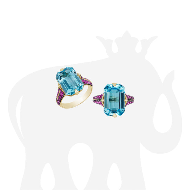 Blue Topaz Emerald Cut Ring with Pink Sapphire