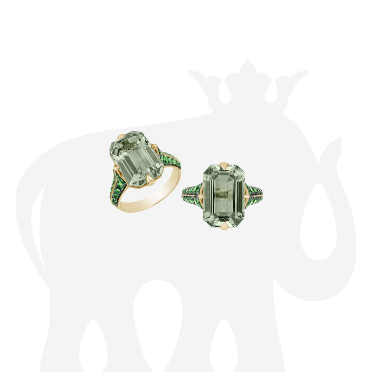 Prasiolite Emerald Cut Ring with Tsavorite