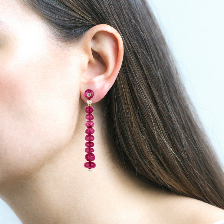 Single Line Rubelite Beads Long Earrings