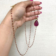 Tourmaline Small Bead with Pendant Chain Necklace