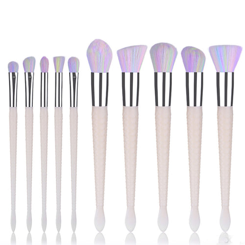 Rainbow White Fish Tail Brush set