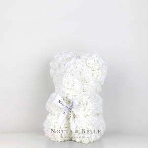 Beautiful White flower bear - 10 in.