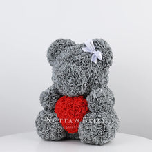 Load image into Gallery viewer, Beautiful Grey Rose Bear with a heart - 14 in.