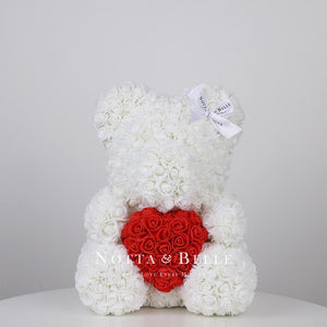 White Rose Bear with a heart - 14 in.