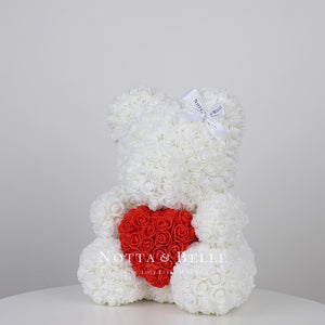Beautiful White Rose Bear with a heart - 14 in.