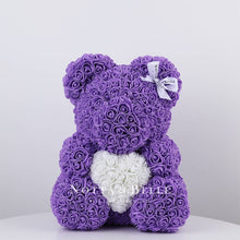 Load image into Gallery viewer, Purple Rose Bears with a heart - 14 in.
