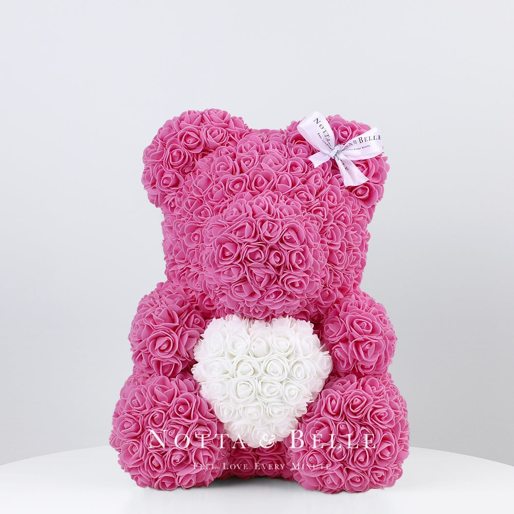 Pink Rose Bear with a heart - 35 cm