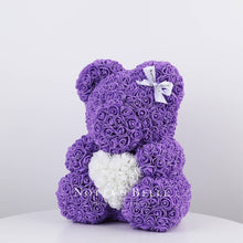 Load image into Gallery viewer, Beautiful Purple Rose Bears with a heart - 14 in.