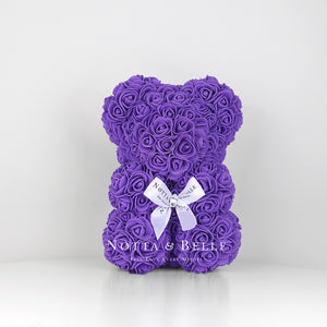 Purple flower bear - 10 in.