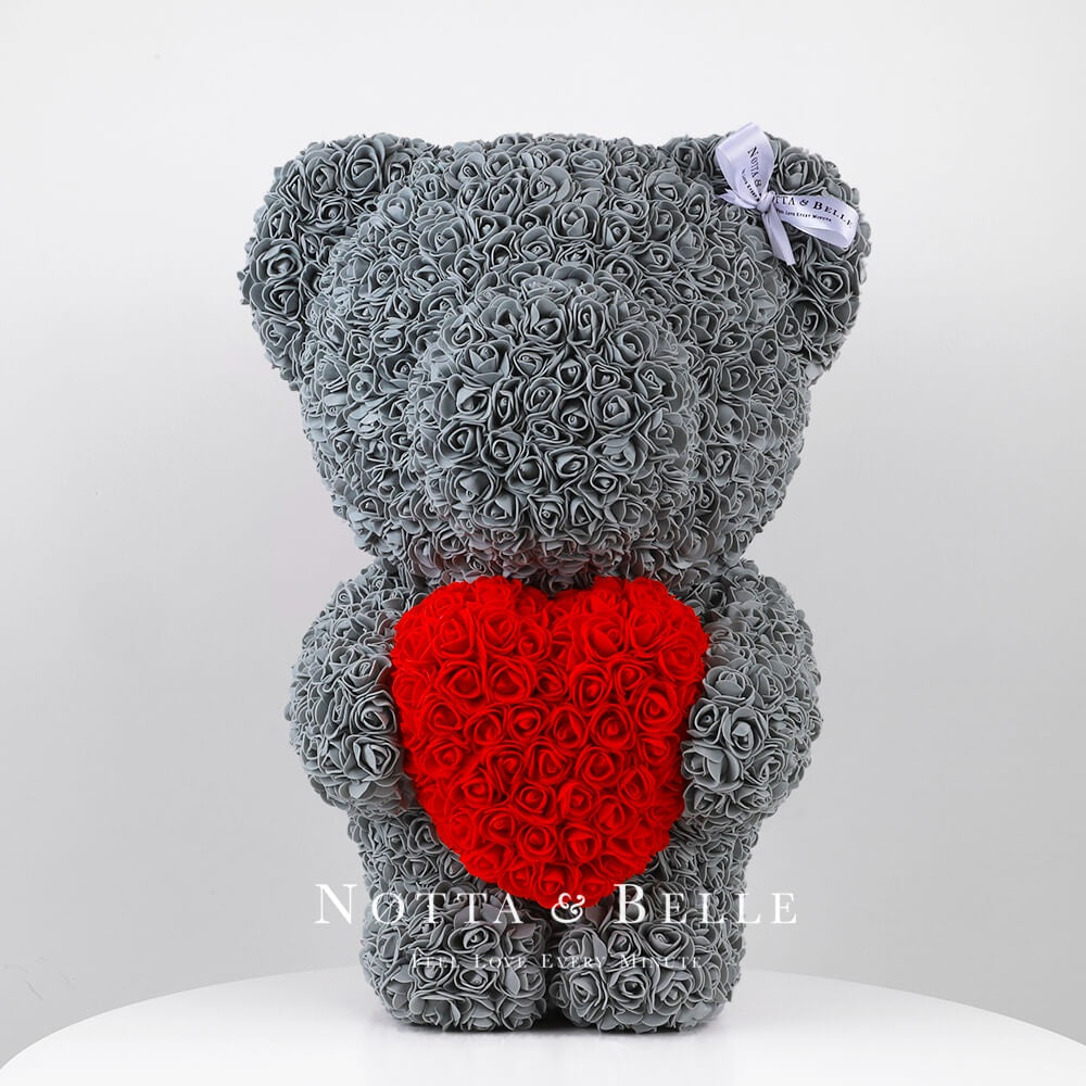 Grey Rose Bear with a heart - 55 cm