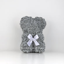 Load image into Gallery viewer, Grey flower bear - 10 in.