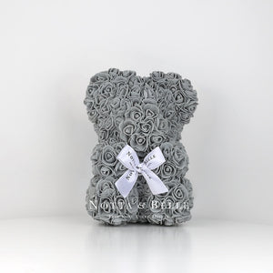 Grey Rose Bear - 25 cm