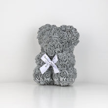 Load image into Gallery viewer, Beautiful grey flower bear - 10 in.