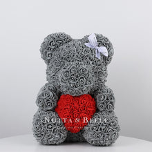 Load image into Gallery viewer, Grey Rose Bear with a heart - 14 in.