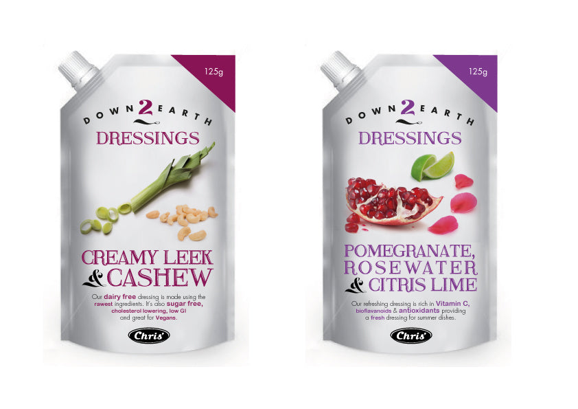Chris' Down 2 Earth Dressings - Packaging Design
