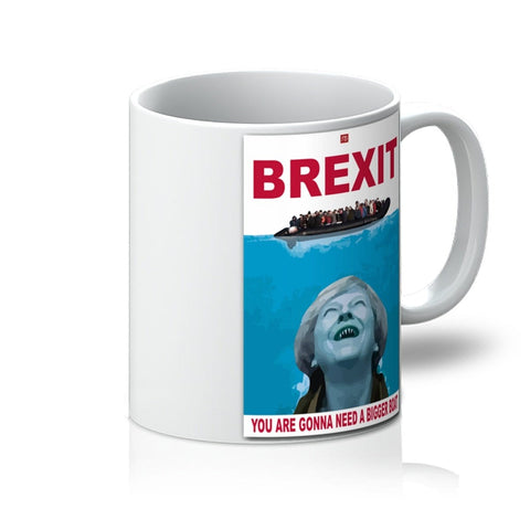 Brexit Mug image of boat full on water with Teresa May looking up with red text