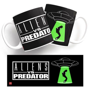 Funny Mug - Aliens vs Predator. Space ship hovering over Michael Jackson