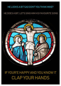 Christmas Card - Clap Your Hands Jesus in a stained glass window image with 2 others