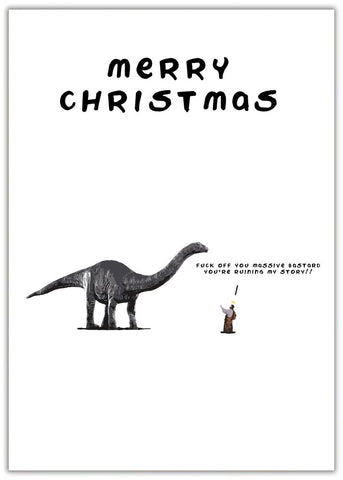 Christmas Card - Jesus Dino Jesus with a dinosaur