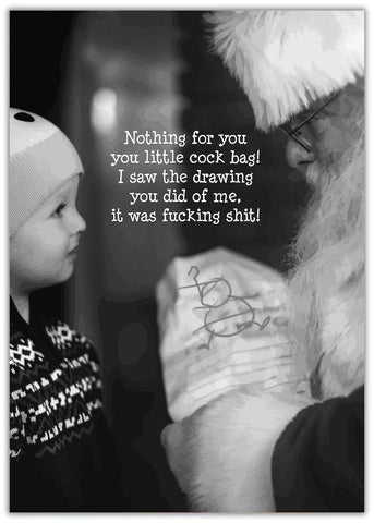 Christmas Card - Nothing For You - Santa Crouched down with present talking to small child