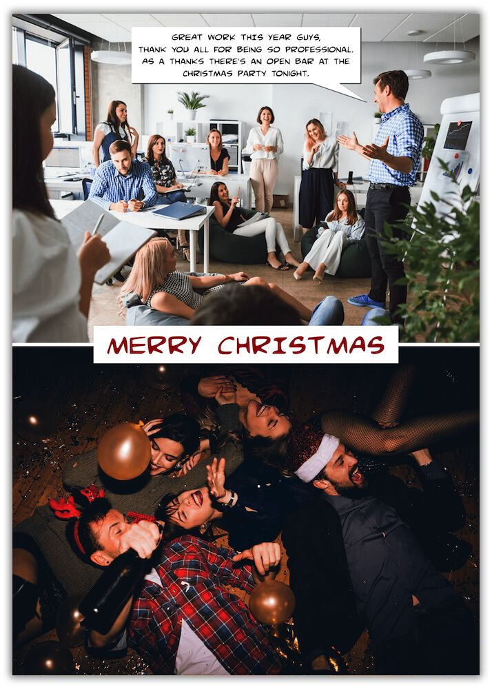 Professional funny christmas card two images one in an office in a meeting second all passed out on the floor after drinking too much
