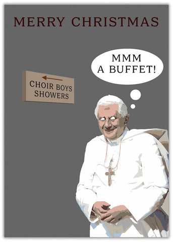Christmas Card - Buffet Priest with sign for choir boys shower