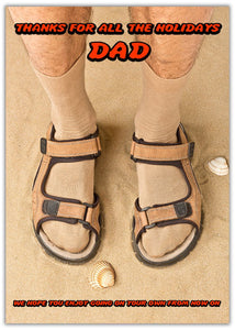 Holidays Funny Father's Day Card a pair of feet in open toe sandals and socks