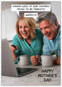 Funny Mother's Day Muppets image of older couple with mugs laughing looking at a laptop screen