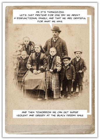 Thanksgiving card Friday sale old sepia photo of a family together