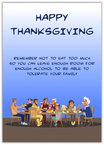 Funny Thanksgiving Card Tolerate family all sitting around a dining table eating