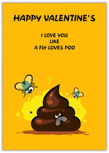 Love like poo funny Valentine's Card image of a poo with flies around it on yellow background
