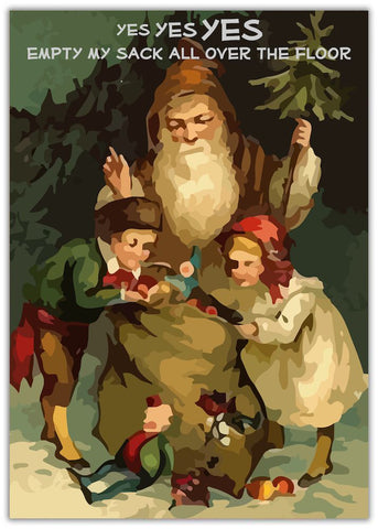 Funny Christmas Card - All Over The Floor. Santa with children in his toy sack