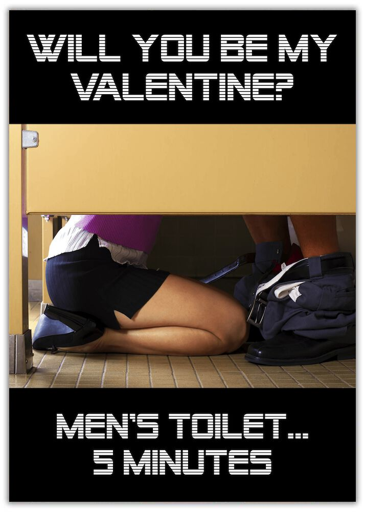 Valentine's Card - 5 Minutes Toilet cubicle with woman on her knees