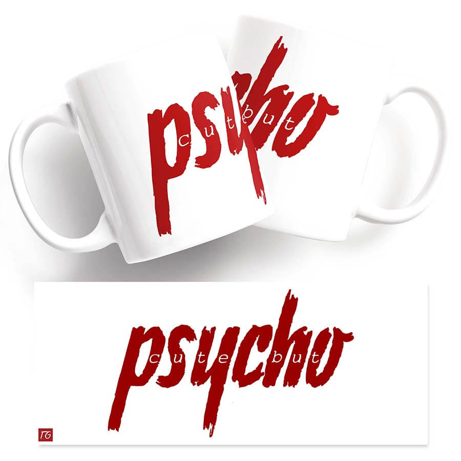 Twisted mug - Psycho mug red text on white background