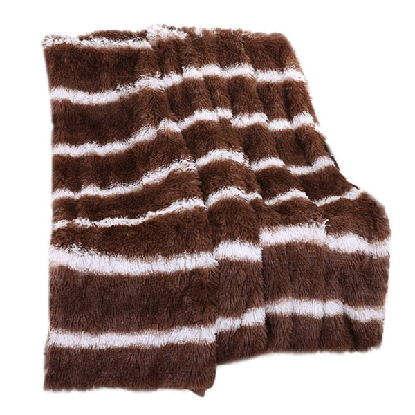 Striped Faux Fur Sofa Blanket in different colors