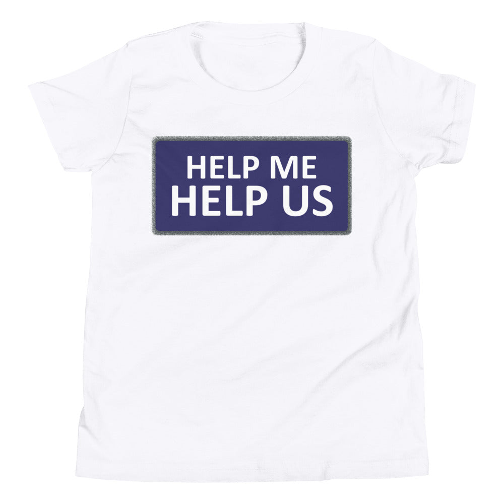 Youth Unisex Help Me Help Us T-Shirt (Blue Background/Gray Boarder)