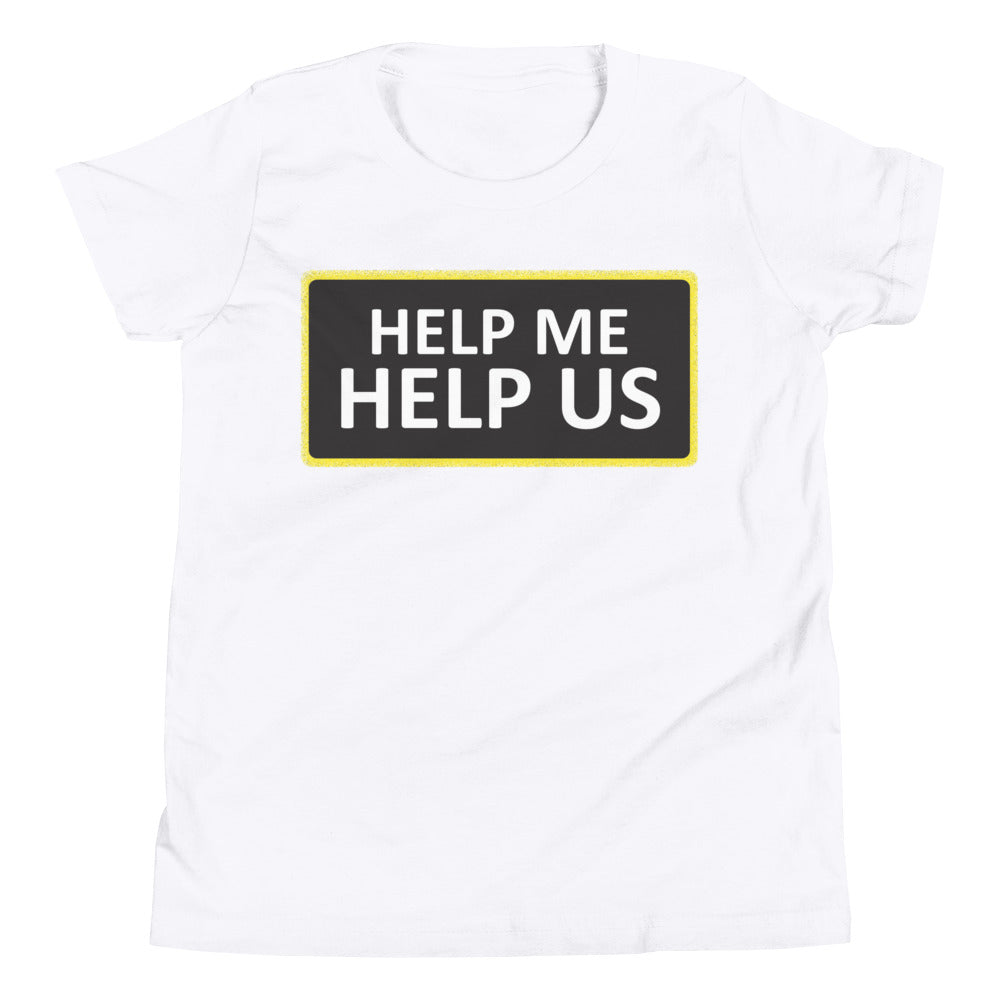 Youth Unisex Help Me Help Us T-Shirt (Black Background/Yellow Boarder)