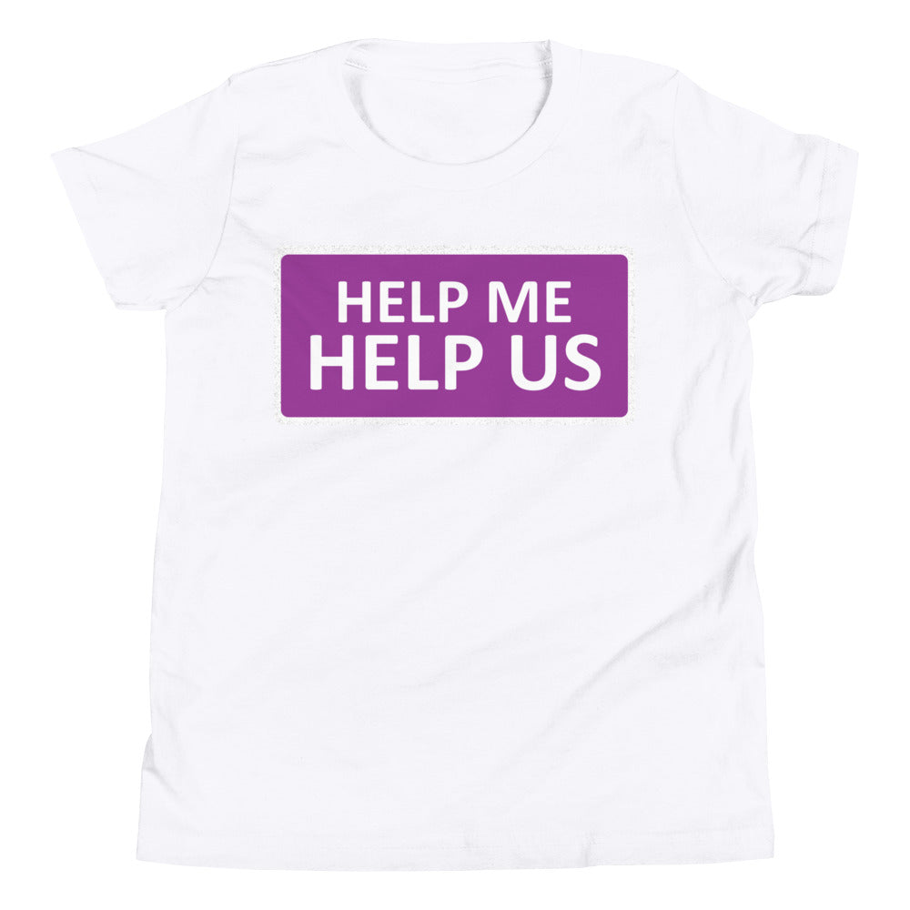 Youth Unisex Help Me Help Us T-Shirt (Violet Background/White Boarder)