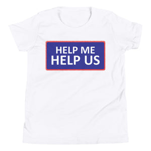 Youth Unisex Help Me Help Us T-Shirt (Blue Background/Red Boarder)