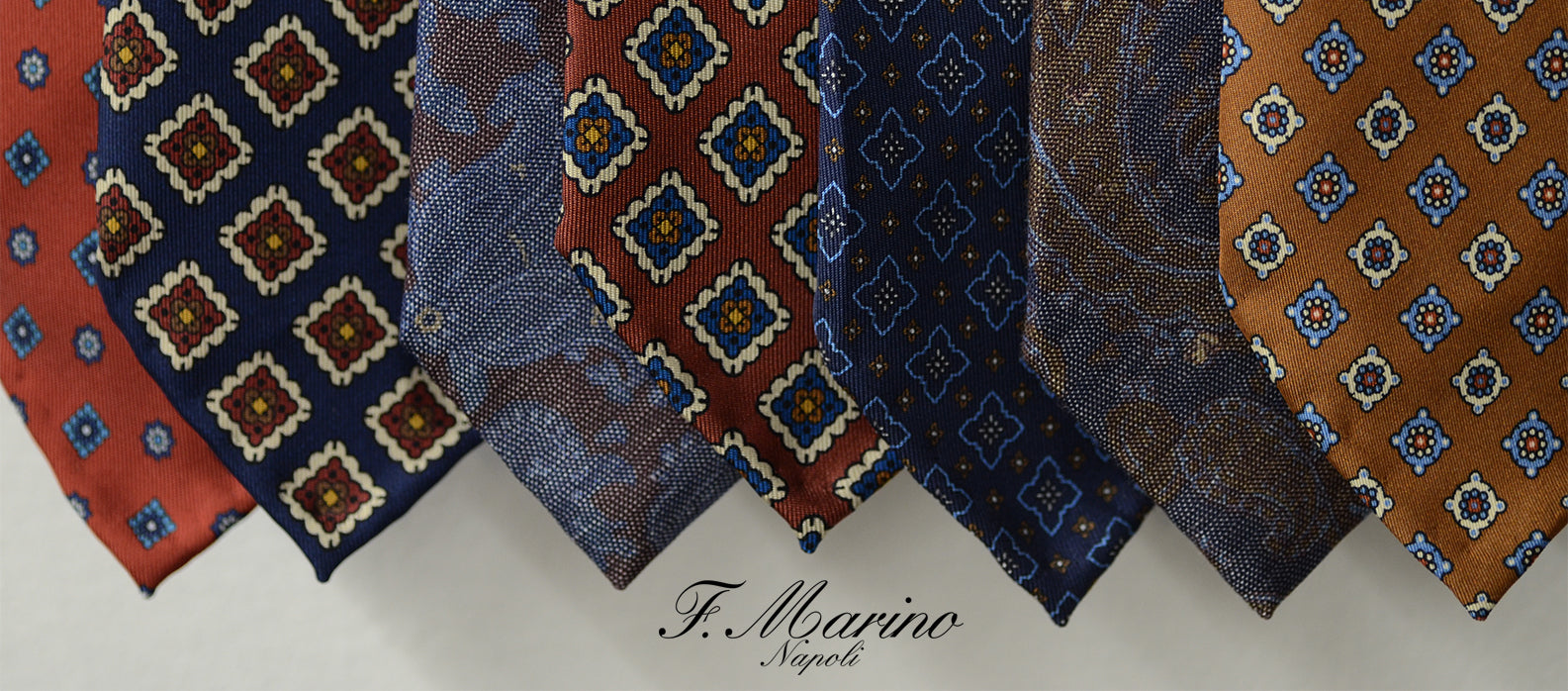 Hand made bespoke ties by F.Marino Napoli. Hand printed pure Italian silk, entirely hand made in Naples. Available at Sartoria Sciarra Sydney, Australia.