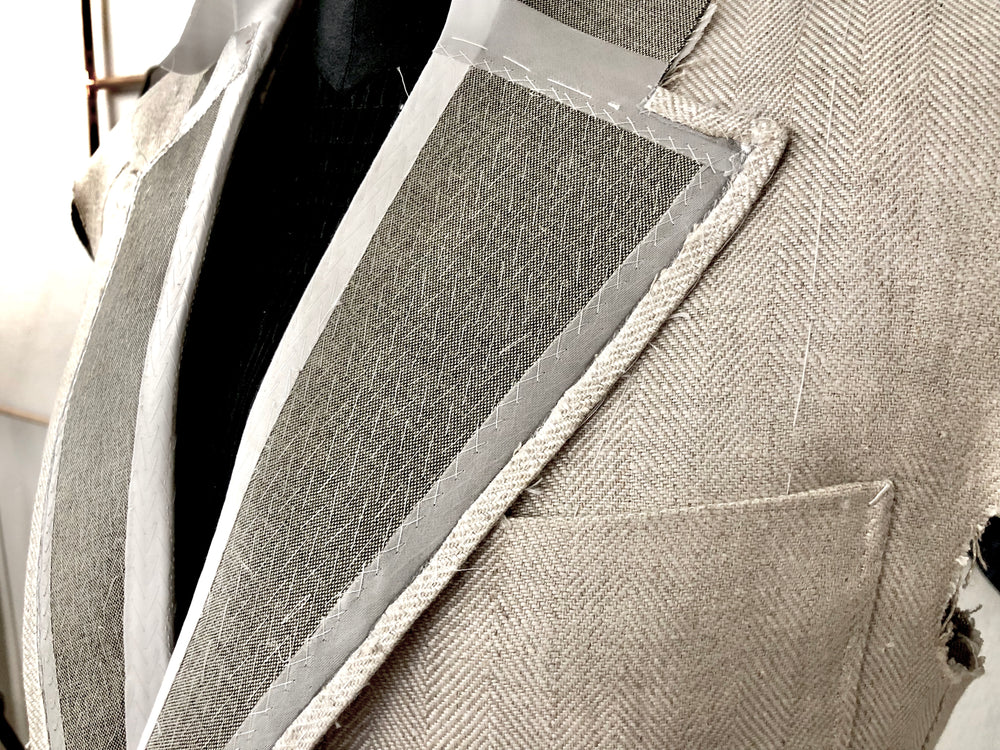 Hand pad stitched lapel on an entirely hand made bespoke jacket, by Sartoria Sciarra Sydney, Australia