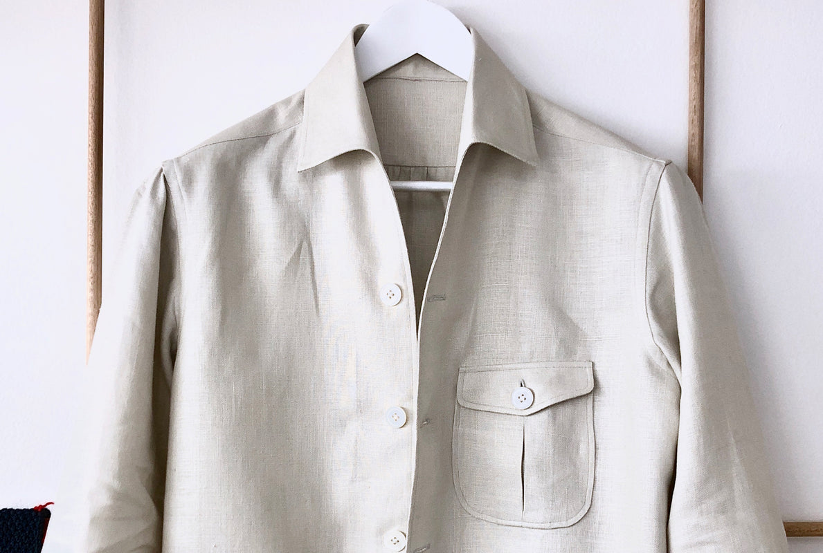 Bespoke shirt jacket, single needle with pignata safari pockets. Made from pure Italian linen in oatmeal with Australian mother of pearl buttons.