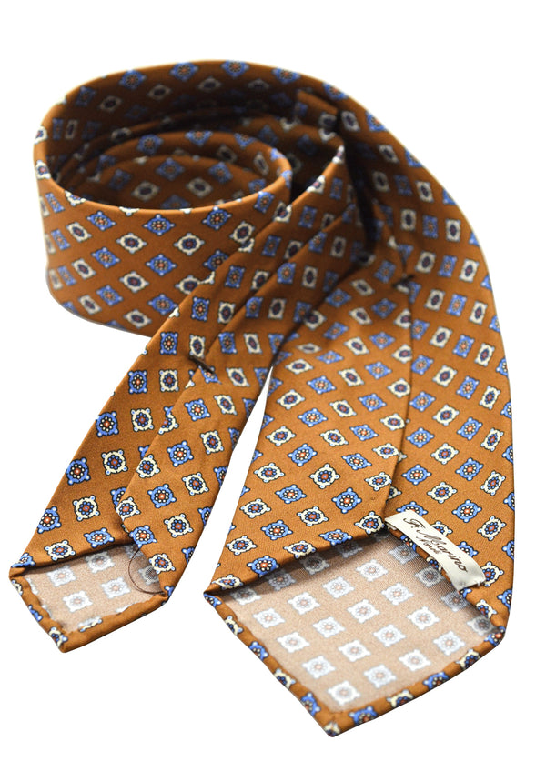 F. Marino hand printed silk floret tie, light brown