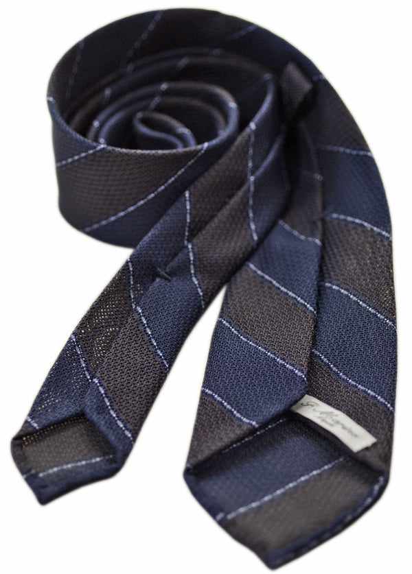 F. Marino garza grossa silk grenadine wide stripe tie, navy and brown