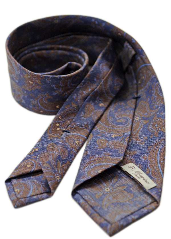F. Marino jacquard paisley silk tie, blue and brown