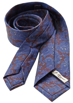 F. Marino jacquard paisley silk tie, blue and burgundy