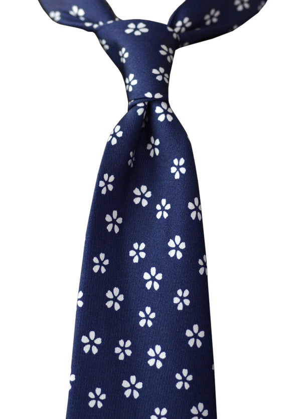F. Marino hand printed floral tie, navy