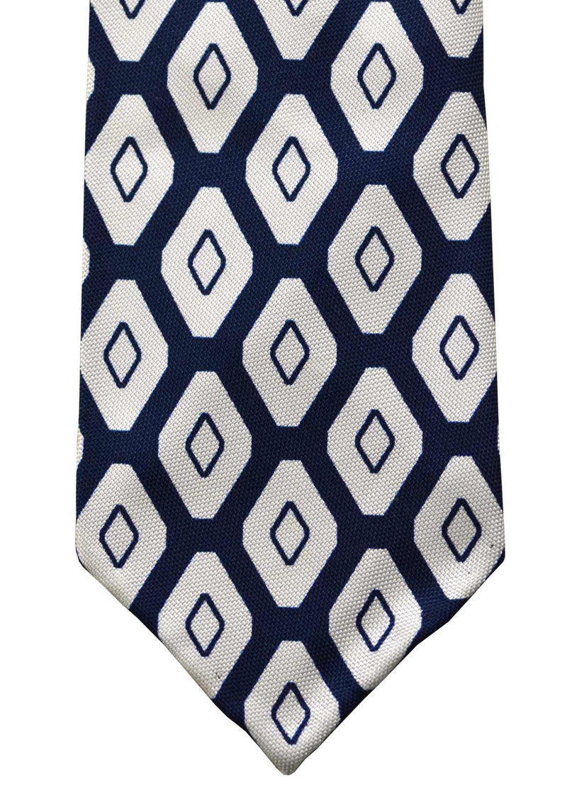 F. Marino hand printed graphic diamond silk tie, navy