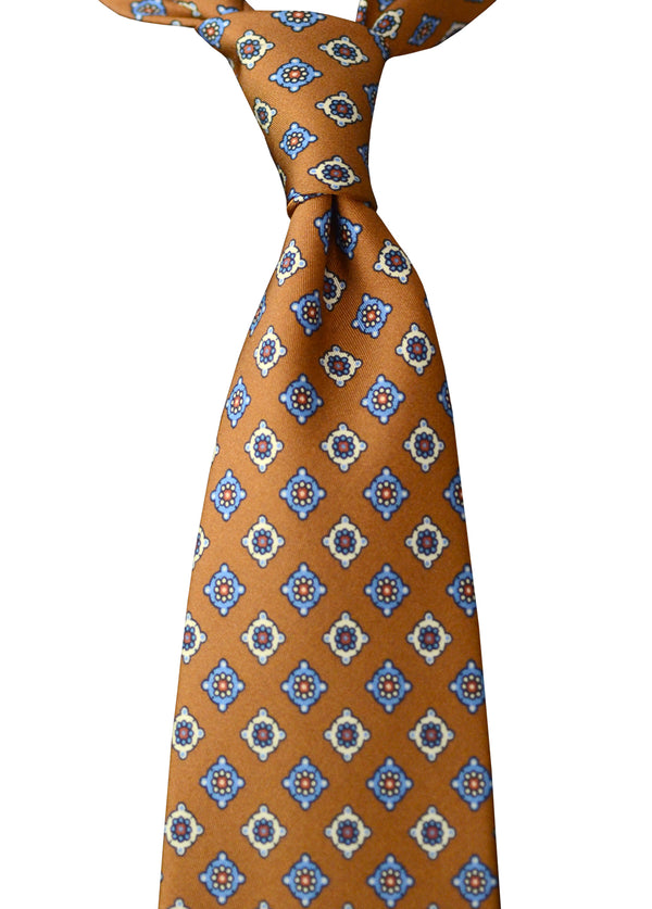 F. Marino hand printed floret silk tie, light brown