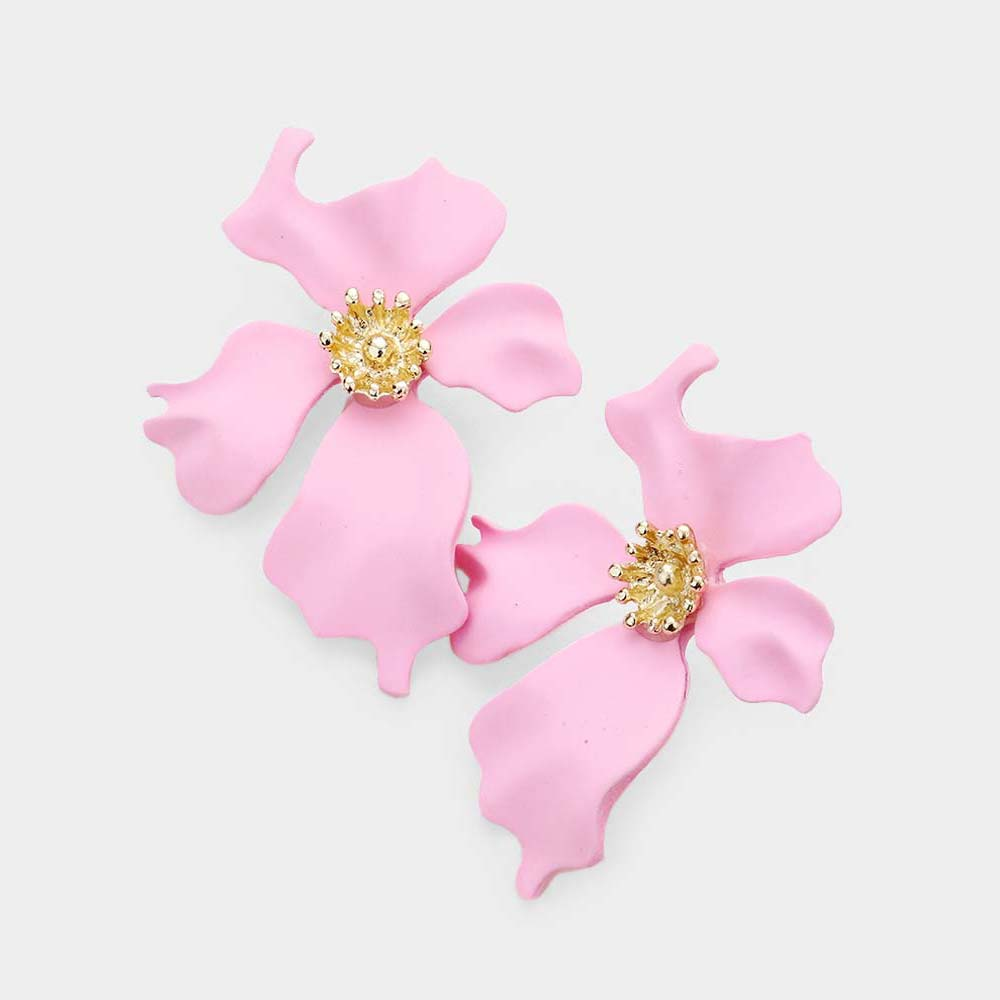 Pink Petal Flower Earrings